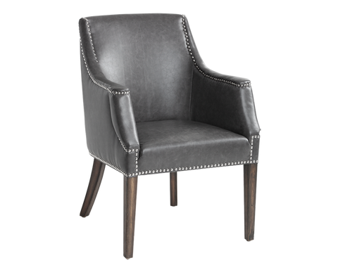 Bartol Arm Chair - Grey Leather - Rustic Edge
