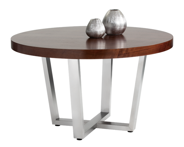 52 Round Table.Orestero Walnut And Stainless Steel 52 Round Dining Table
