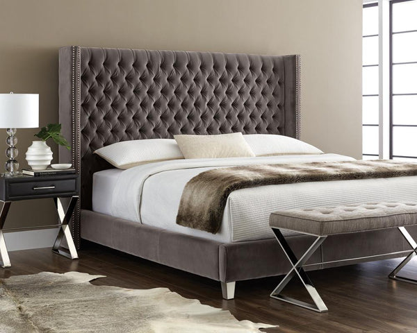 LOUIS BED QUEEN GREY - Intrustic home decor