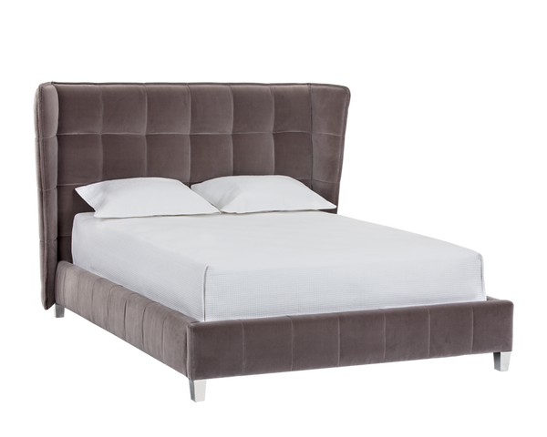 Briant Velvet Fabric Panel Stitched Upholstered Bed