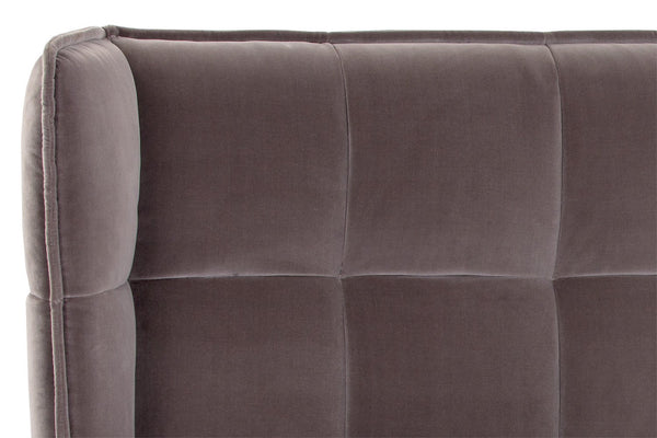 Briant Velvet Fabric Panel Stitched Upholstered Bed - Rustic Edge