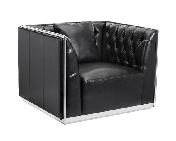 Alain Armchair Stainless Steel in Black Leather - Rustic Edge