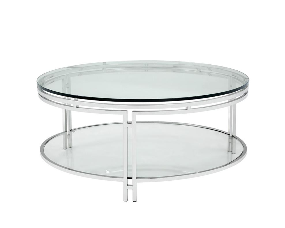 Bishop Round Glass Coffee Table - Rustic Edge