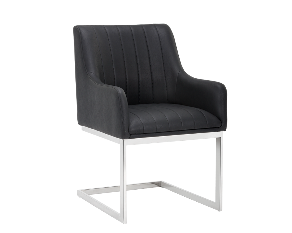 RANDOLPH CANTILEVER ARMCHAIR BLACK LEATHER