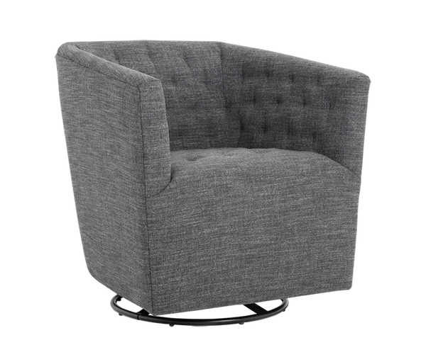 Cambeul Swivel Arm Chair - Quarry Grey Fabric - Rustic Edge