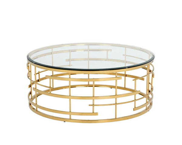 Addison Round Gold Frame Coffee Table w/Glass top - Rustic Edge