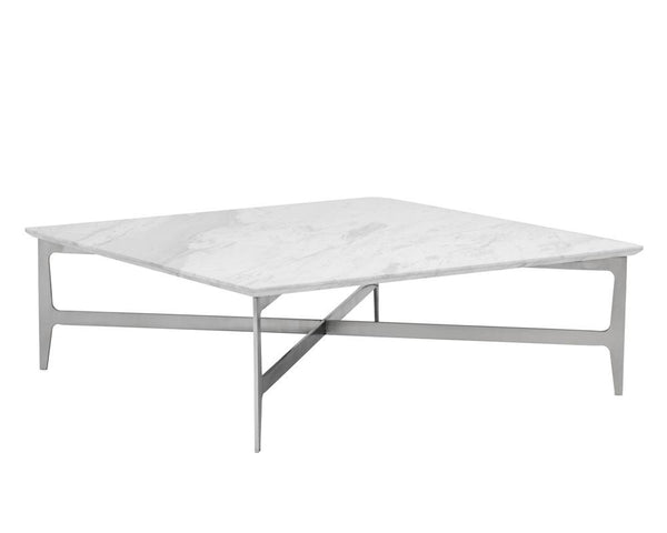 Alvar Brushed Stainless with Marble Coffee Table - Rustic Edge