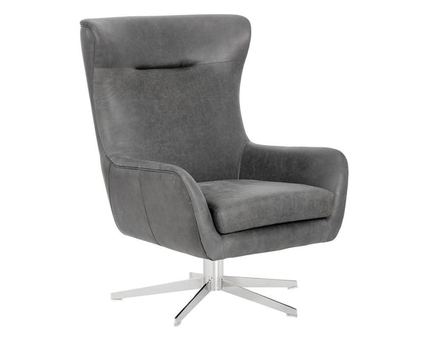 Adken Swivel Chair - Vintage Black - Rustic Edge