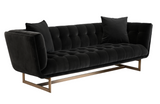 "Floreen Elegant Velvet 92"" Sofa - Black"