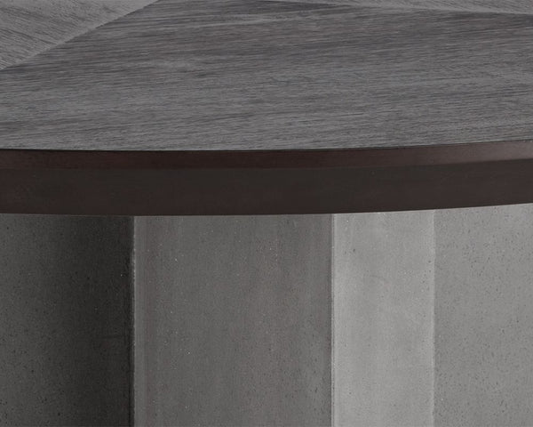 "Repalm 51"" Round Dining Table - Concrete Base with Wood Top"