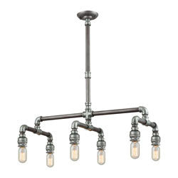 Elk Lighting Cast Iron Pipe 6 Light Chandelier In Weathered Zinc 10691-6