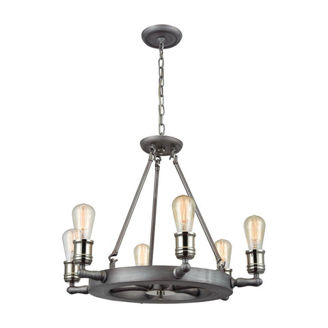 Elk Group Nautical 6 Light Chandelier In Weathered Zinc And Polished Nickel 10706/6