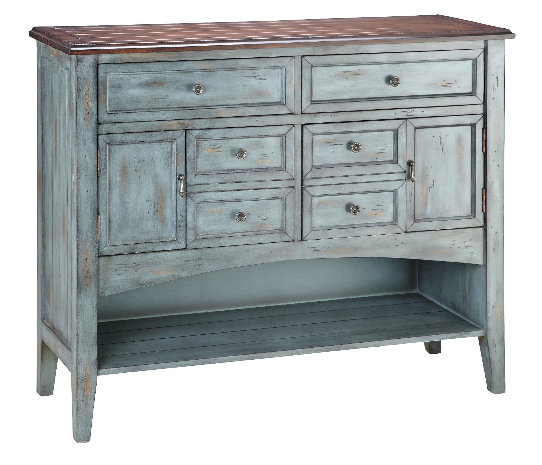 Hartford Console - 12038 Two Door Six Drawer Moonstone - Stein World