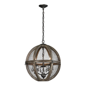 Dimond Home 140-007 Renaissance Invention 3-Light Wood And Wire Chandelier