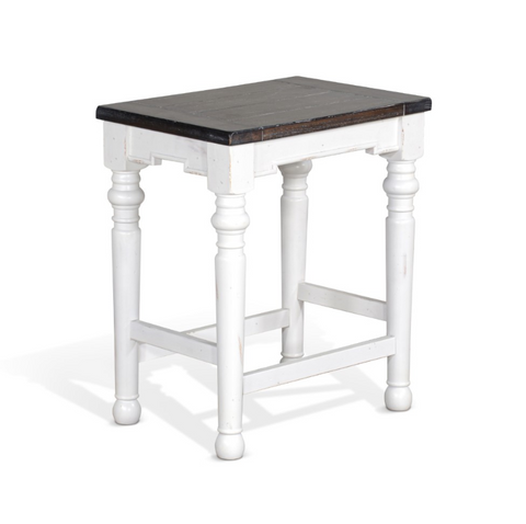 Buggy Cabin Backless Stool with Dark Stained Wood Seat - White