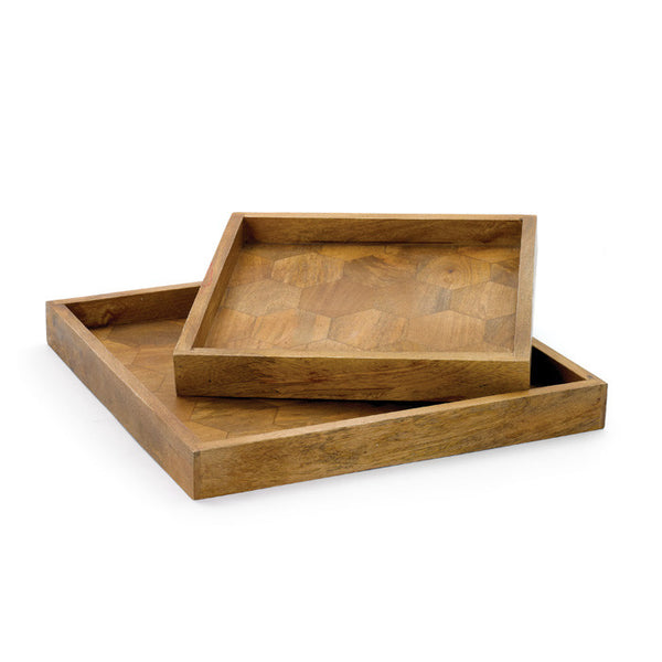 Go Home Set of 2 Wooden Honeycomb Trays 14508