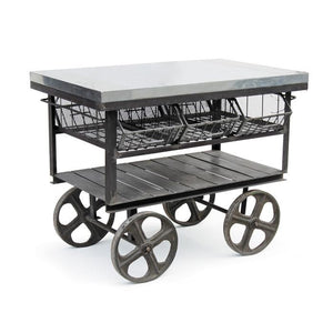 Calvina Raw Black and Antique Nickel Finish Station Cart - Rustic Edge