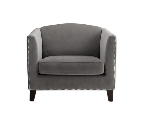 Baruch Arm Chair - Grey Fabric - Rustic Edge