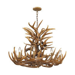 Elk Group Rustic Antlers Chandelier In Wood Brown