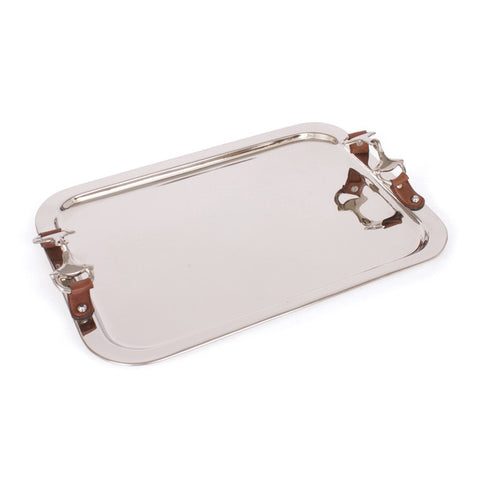 "Go Home 19"" Rectangle Metal/Leather Bridle Tray 18762"