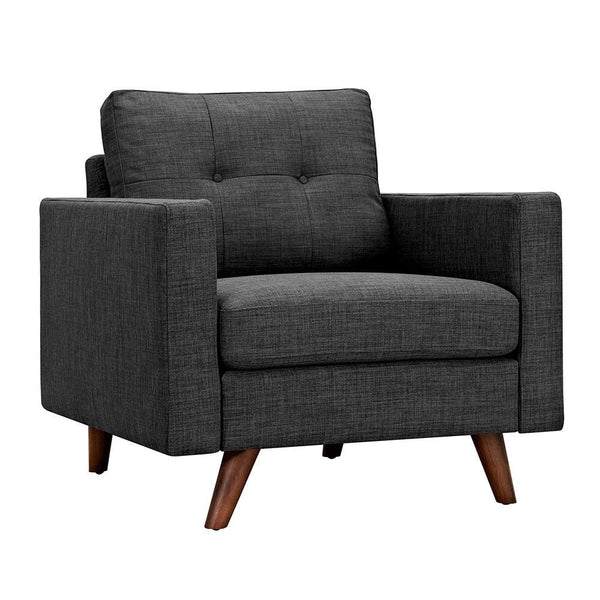 Ames Charcoal Gray Armchair - Walnut - Rustic Edge