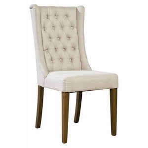 Barrington Tufted Linen Side Chair - Rustic Edge