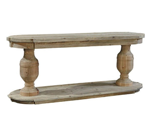 "Banning Double Pedestal 78"" Console Table FC58494 - Rustic Edge"
