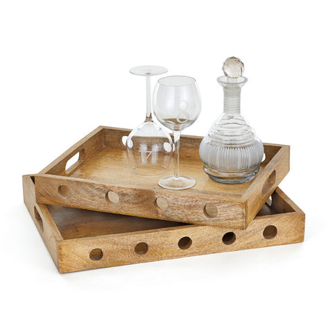 Go Home Wooden rectangle Sorriso Trays set of (2) 20148
