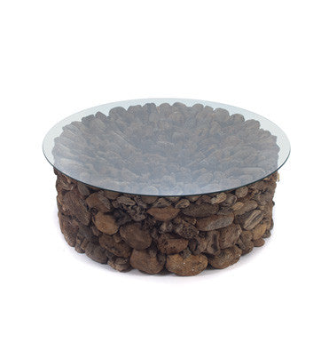 Calavera Coffee Table with glass top - Rustic Edge