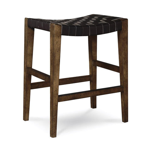 Echo Park Woven Leather Stool - Intrustic home decor