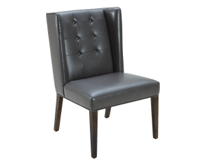 SINCLAIR DINING CHAIR GREY LEATHER