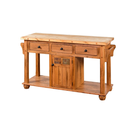Sunny Designs 2522RO Sedona Kitchen Island Table, Rustic Oak