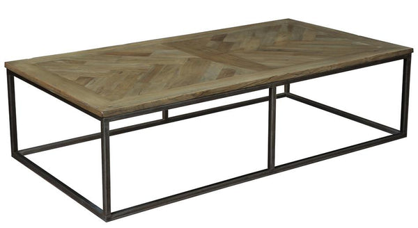 Alby Recycled Parquet Top w/Iron Coffee Table - Rustic Edge