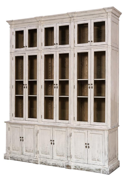 Canan Glassfront Distressed White Frost Cabinet S8108D - Rustic Edge