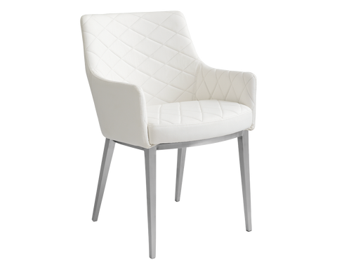 Seacha Dining Chair - White Leather - set of 2 - Rustic Edge