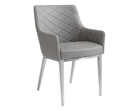 Seacha Dining Chair - Grey Leather set of 2 - Rustic Edge