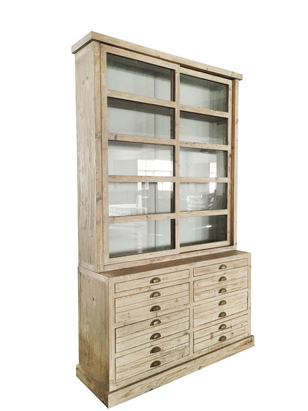 Alessa Gray Display Cabinet Hutch with Glass Sliding Doors - Rustic Edge