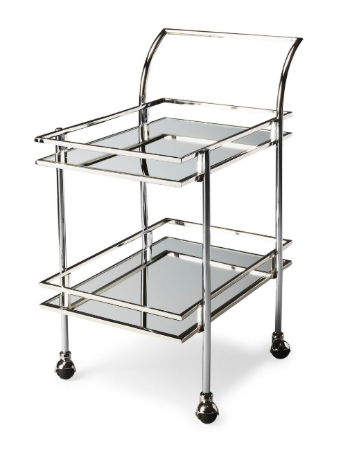 Gabby Stainless Steel and Mirrored Loft Bar Cart - Nickel