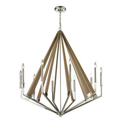 Elk Group Madera Collection chandelier in Polished Nickel w/tapered Wood Slats