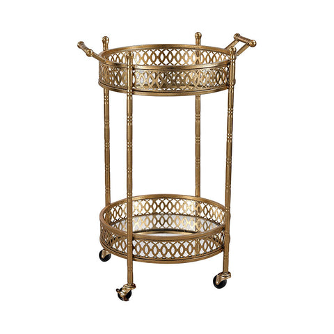 Brutis Banded Round Bar Cart in Gold Leaf,Mirror - Rustic Edge