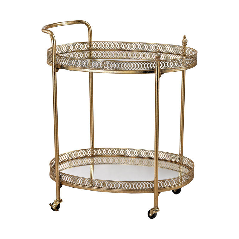 Ollie Oval Bar Cart In Gold Leaf,Mirror