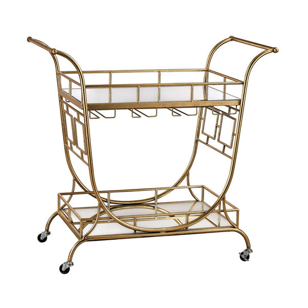 Layla Mirrored Server Bar Cart in Gold Leaf,Clear