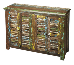 Harvey Reclaimed Wood Sideboard with 4 Shutter Doors - Multi Color