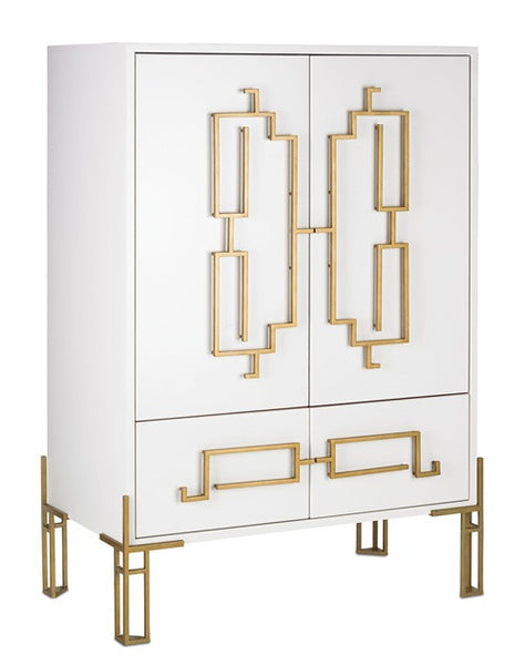 Zhin Cabinet/Bar Cabinet White & Gold Contemporary Red Interior 3258
