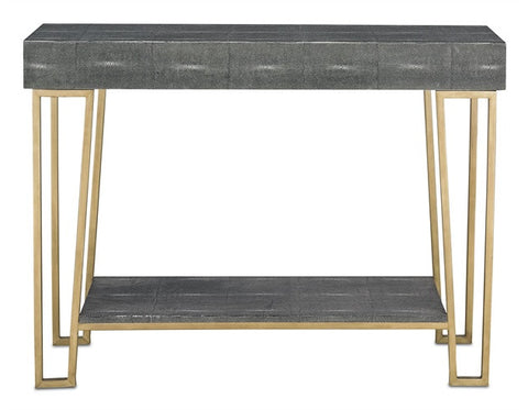 Marlowe Console Table Hidden Drawers Black & Antique Brass 3264