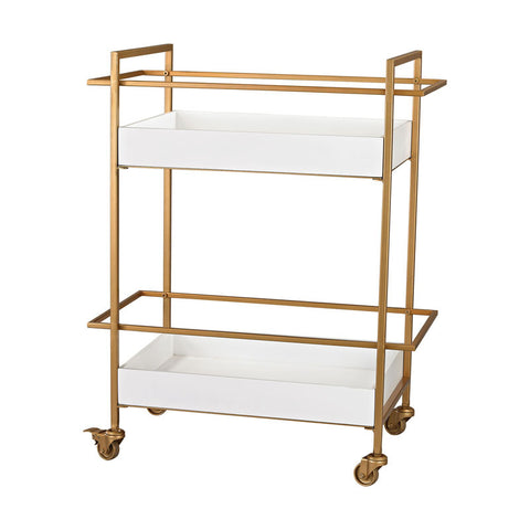 Dayna Gold and White Bar Cart - White Gloss