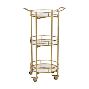 "Sterling 351-10208  21"" Round Gold Leaf Bar Cart"