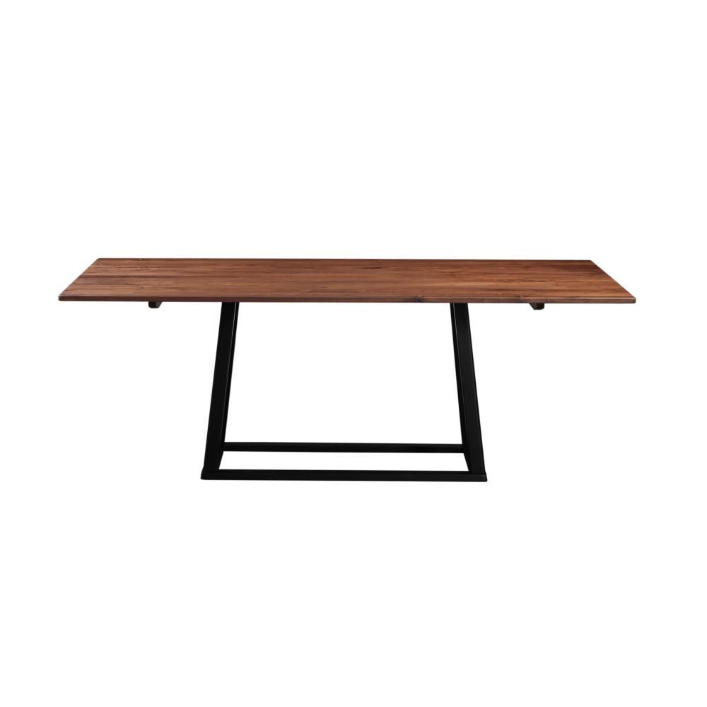 "Meserta 79"" Wood Dining Table  - Black Iron Legs - Rustic Edge"