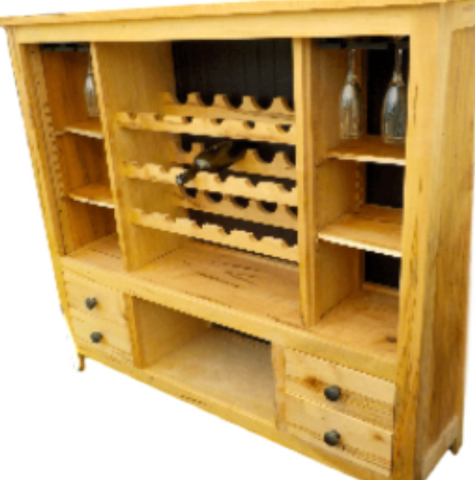 Custom Built Solid Maple Wood Wine Cabinet w/storage