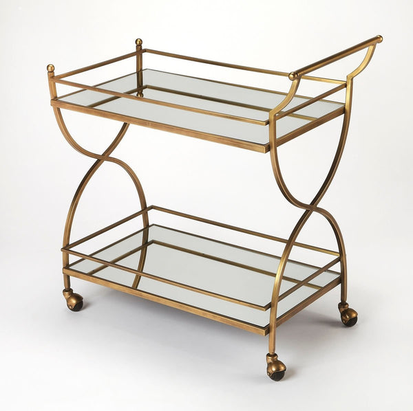Butler Graci Antique Gold Bar Cart 3821226 - Rustic Edge